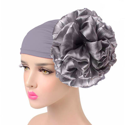 King_flower_turban_Head_covering_Modest_Headcovres_Elegant_Chemo hat_Cancer hat_Fancy_Wine_Gray
