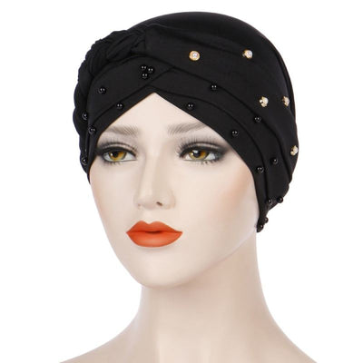 Lali Pearls Headwrap Shop Online Headscarf For Work African Turban With Beads Free Shipping Muslim Hijab Tichel For Jewish Indian Headcovering Cancer Hat-Black