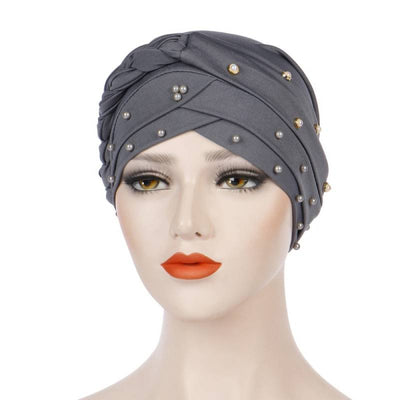 Lali Pearls Headwrap Shop Online Headscarf For Work African Turban With Beads Free Shipping Muslim Hijab Tichel For Jewish Indian Headcovering Cancer Hat-Gray