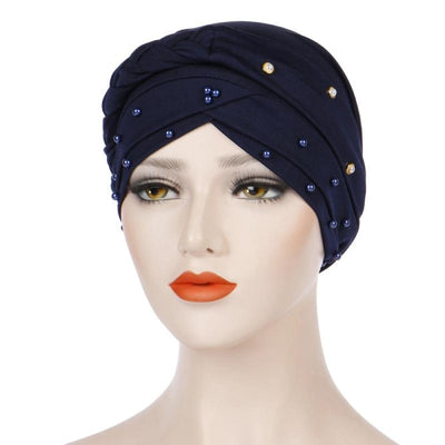 Lali Pearls Headwrap Shop Online Headscarf For Work African Turban With Beads Free Shipping Muslim Hijab Tichel For Jewish Indian Headcovering Cancer Hat-Navy blue