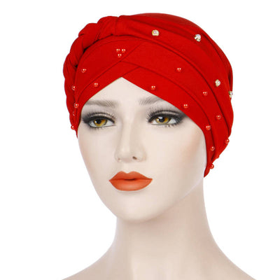 Lali Pearls Headwrap Shop Online Headscarf For Work African Turban With Beads Free Shipping Muslim Hijab Tichel For Jewish Indian Headcovering Cancer Hat-Red