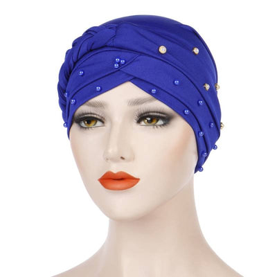 Lali Pearls Headwrap Shop Online Headscarf For Work African Turban With Beads Free Shipping Muslim Hijab Tichel For Jewish Indian Headcovering Cancer Hat-Royal blue