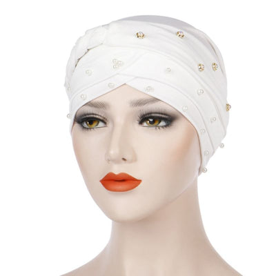 Lali Pearls Headwrap Shop Online Headscarf For Work African Turban With Beads Free Shipping Muslim Hijab Tichel For Jewish Indian Headcovering Cancer Hat-White