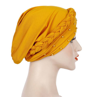 Lali Pearls Headwrap Shop Online Headscarf For Work African Turban With Beads Free Shipping Muslim Hijab Tichel For Jewish Indian Headcovering Cancer Hat-Yellow-2