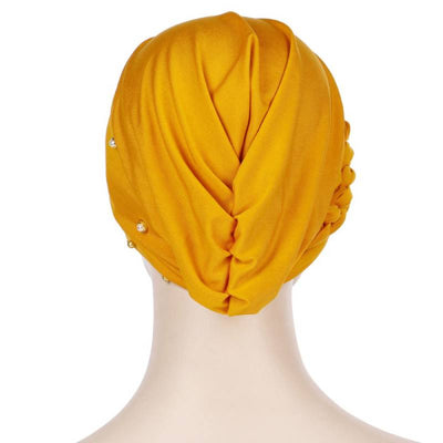 Lali Pearls Headwrap Shop Online Headscarf For Work African Turban With Beads Free Shipping Muslim Hijab Tichel For Jewish Indian Headcovering Cancer Hat-Yellow-3