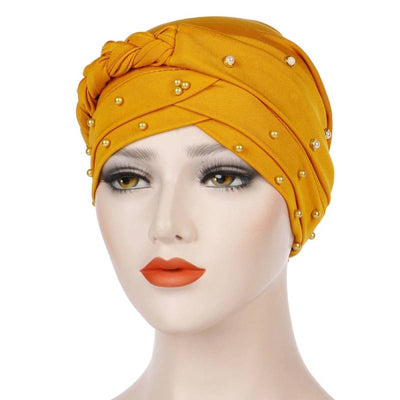 Lali Pearls Headwrap Shop Online Headscarf For Work African Turban With Beads Free Shipping Muslim Hijab Tichel For Jewish Indian Headcovering Cancer Hat-Yellow
