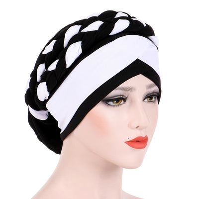 Lois Braid Headwrap_Headwear_Head_covering_Headscarves_Basic_chemo_Hat_Pre_Tied_Black