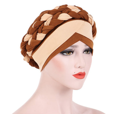 Lois Braid Headwrap_Headwear_Head_covering_Headscarves_Basic_chemo_Hat_Pre-Tied_Brown