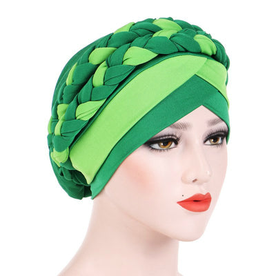 Lois Braid Headwrap_Headwear_Head_covering_Headscarves_Basic_chemo_Hat_Pre_Tied_Green