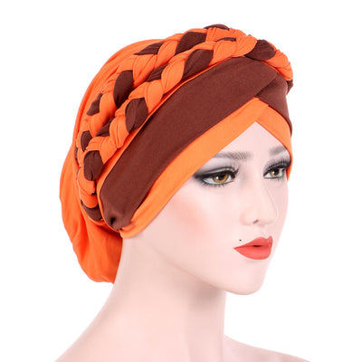 Lois Braid Headwrap_Headwear_Head_covering_Headscarves_Basic_chemo_Hat_Pre_Tied_Orange
