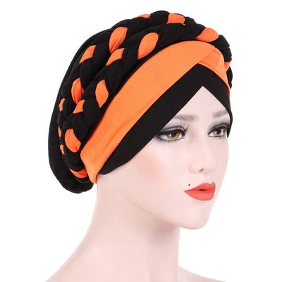 Lois Braid Headwrap_Headwear_Head_covering_Headscarves_Basic_chemo_Hat_Pre_Tied_Orange_Black
