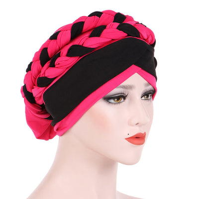 Lois Braid Headwrap_Headwear_Head_covering_Headscarves_Basic_chemo_Hat_Pre_Tied_Pink