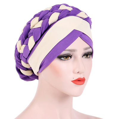 Lois Braid Headwrap_Headwear_Head_covering_Headscarves_Basic_chemo_Hat_Pre_Tied_Purple