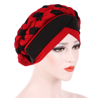 Lois Braid Headwrap_Headwear_Head_covering_Headscarves_Basic_chemo_Hat_Pre_Tied_Red