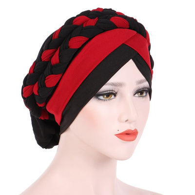 Lois Braid Headwrap_Headwear_Head_covering_Headscarves_Basic_chemo_Hat_Pre_Tied_Red_Black