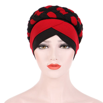 Lois Braid Headwrap_Headwear_Head_covering_Headscarves_Basic_chemo_Hat_Pre_Tied_Red_Black-4