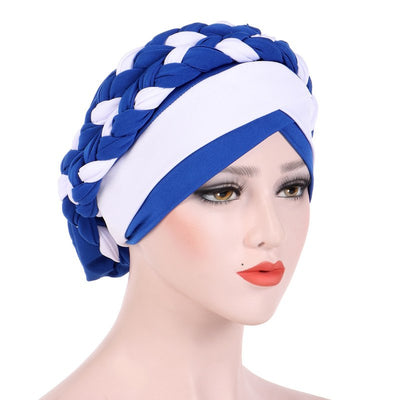 Lois Braid Headwrap_Headwear_Head_covering_Headscarves_Basic_chemo_Hat_Pre_Tied_Royal_Blue