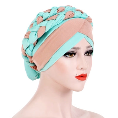 Lois Braid Headwrap_Headwear_Head_covering_Headscarves_Basic_chemo_Hat_Pre_Tied_Turquoise