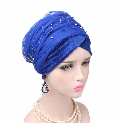 Long Head Wrap_Headscarf_Head wear_Head covering_Headscarves_Head wraps_Blue