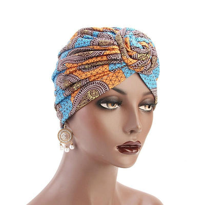 Lottie Cotton Turban Basic African style Hat Cancer Chemo Caps Beanies Muslim Turbante Hijab Bandanna Hair accessories Headwrap Blue-2