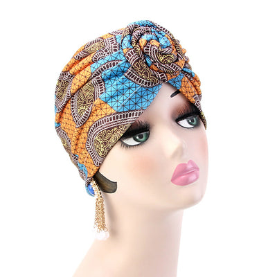 Lottie Cotton Turban Basic African style Hat Cancer Chemo Caps Beanies Muslim Turbante Hijab Bandanna Hair accessories Headwrap Blue
