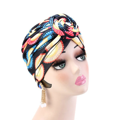 Lottie Cotton Turban Basic African style Hat Cancer Chemo Caps Beanies Muslim Turbante Hijab Bandanna Hair accessories Headwrap Multi