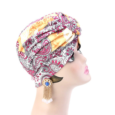 Lottie Cotton Turban Basic African style Hat Cancer Chemo Caps Beanies Muslim Turbante Hijab Bandanna Hair accessories Headwrap Orange-4