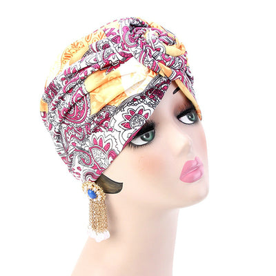 Lottie Cotton Turban Basic African style Hat Cancer Chemo Caps Beanies Muslim Turbante Hijab Bandanna Hair accessories Headwrap Orange