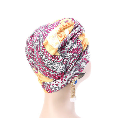 Lottie Cotton Turban Basic African style Hat Cancer Chemo Caps Beanies Muslim Turbante Hijab Bandanna Hair accessories Headwrap Orange-2