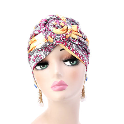 Lottie Cotton Turban Basic African style Hat Cancer Chemo Caps Beanies Muslim Turbante Hijab Bandanna Hair accessories Headwrap Orange-3