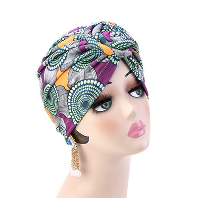 Lottie Cotton Turban Basic African style Hat Cancer Chemo Caps Beanies Muslim Turbante Hijab Bandanna Hair accessories Headwrap Purple