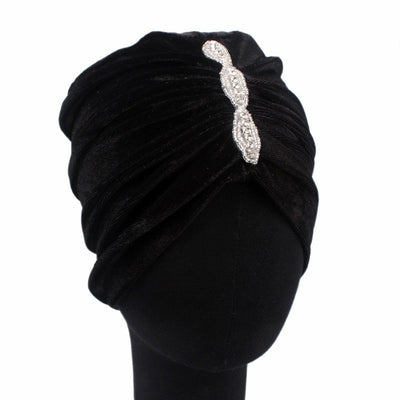 Louise velvet jewel turban black head coverings pre-tied fancy hat tee party hat jewelry modest fashion mall modesty