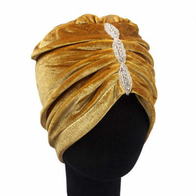 Louise velvet jewel turban gold head coverings pre-tied fancy hat tee party hat jewelry modest fashion mall modesty
