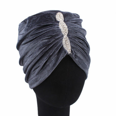 Louise velvet jewel turban gray head coverings pre-tied fancy hat tee party hat jewelry modest fashion mall modesty