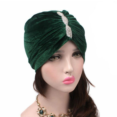 Louise velvet jewel turban green head coverings pre-tied fancy hat tee party hat jewelry modest fashion mall modesty