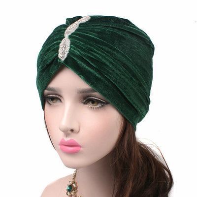 Louise velvet jewel turban green head coverings pre-tied fancy hat tee party hat jewelry modest fashion mall modesty-5