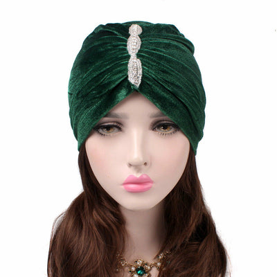 Louise velvet jewel turban green head coverings pre-tied fancy hat tee party hat jewelry modest fashion mall modesty-2