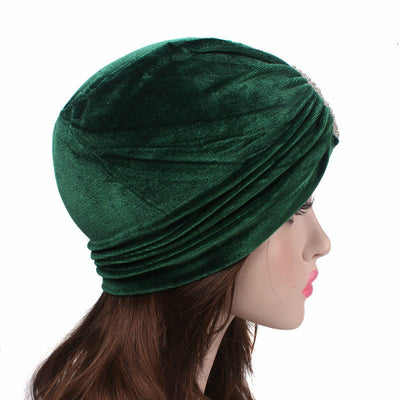 Louise velvet jewel turban green head coverings pre-tied fancy hat tee party hat jewelry modest fashion mall modesty-4
