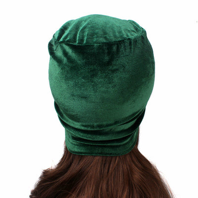 Louise velvet jewel turban green head coverings pre-tied fancy hat tee party hat jewelry modest fashion mall modesty-3