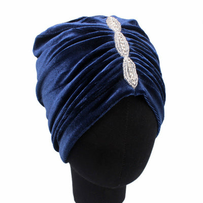 Louise velvet jewel turban navy head coverings pre-tied fancy hat tee party hat jewelry modest fashion mall modesty