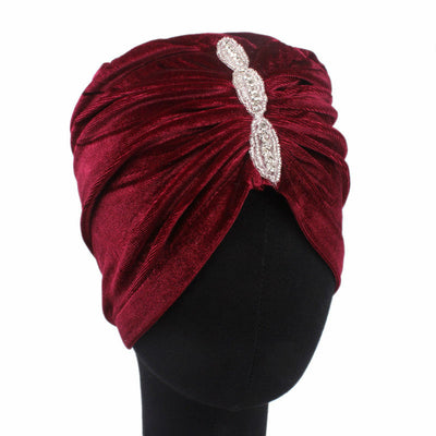 Louise velvet jewel turban wine red head coverings pre-tied fancy hat tee party hat jewelry modest fashion mall modesty