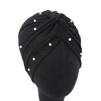 Lynn Pearl Ruffle Turban Women fashion Shiny Mesh Headwrap headwear Fancy Luxury Muslim hat Headwear Turbante Hijab Hair Accessories Black