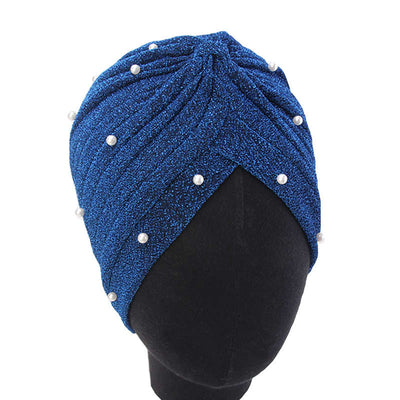 Lynn Pearl Ruffle Turban Women fashion Shiny Mesh Headwrap headwear Fancy Luxury Muslim hat Headwear Turbante Hijab Hair Accessories Blue