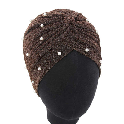 Lynn Pearl Ruffle Turban Women fashion Shiny Mesh Headwrap headwear Fancy Luxury Muslim hat Headwear Turbante Hijab Hair Accessories Brown