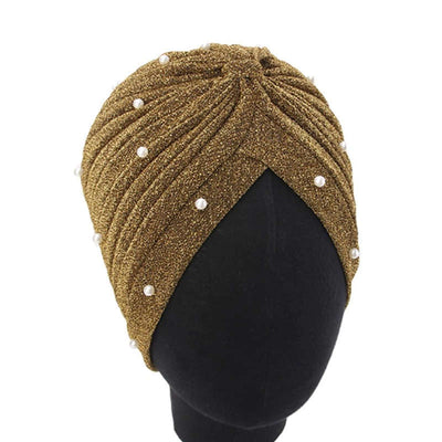 Lynn Pearl Ruffle Turban Women fashion Shiny Mesh Headwrap headwear Fancy Luxury Muslim hat Headwear Turbante Hijab Hair Accessories Gold