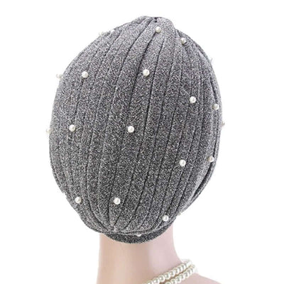 Lynn Pearl Ruffle Turban Women fashion Shiny Mesh Headwrap headwear Fancy Luxury Muslim hat Headwear Turbante Hijab Hair Accessories Gray Silver-4