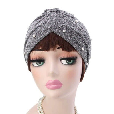 Lynn Pearl Ruffle Turban Women fashion Shiny Mesh Headwrap headwear Fancy Luxury Muslim hat Headwear Turbante Hijab Hair Accessories Gray Silver-3