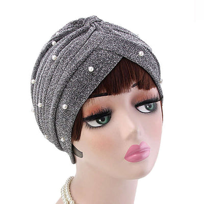 Lynn Pearl Ruffle Turban Women fashion Shiny Mesh Headwrap headwear Fancy Luxury Muslim hat Headwear Turbante Hijab Hair Accessories Gray Silver-2