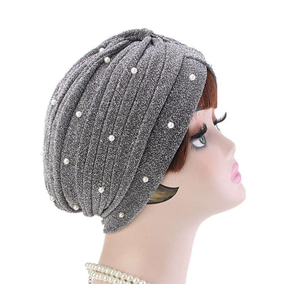 Lynn Pearl Ruffle Turban Women fashion Shiny Mesh Headwrap headwear Fancy Luxury Muslim hat Headwear Turbante Hijab Hair Accessories Gray Silver-5