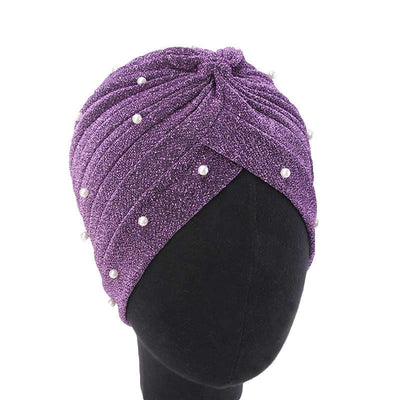 Lynn Pearl Ruffle Turban Women fashion Shiny Mesh Headwrap headwear Fancy Luxury Muslim hat Headwear Turbante Hijab Hair Accessories Purple